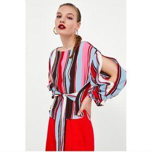 Zara Striped Pleated Bow Top Small Split Sleeve